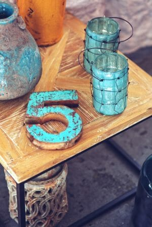 The number 5 on a table