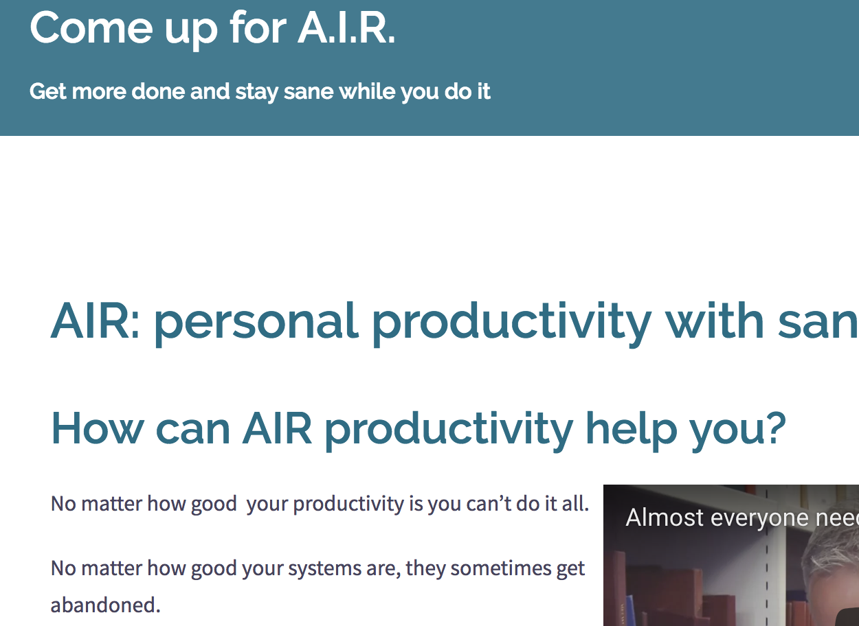 Presenting AIR - the productivity system