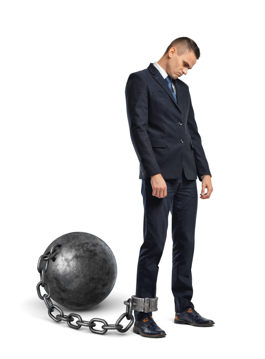 A man with a ball and chain how most presenters feel about powerpoint? ;)