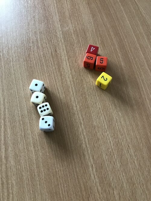 dice for using in the presentation
